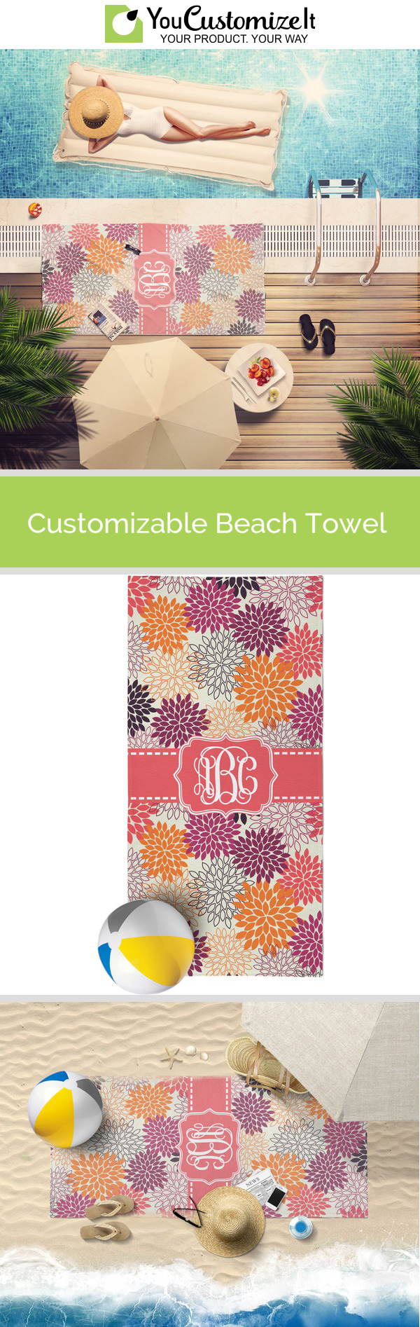 Mums Flower Beach Towel (Personalized)
