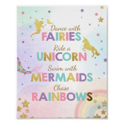 Unicorn Party Sign Dance With Fairies Mermaid Girl