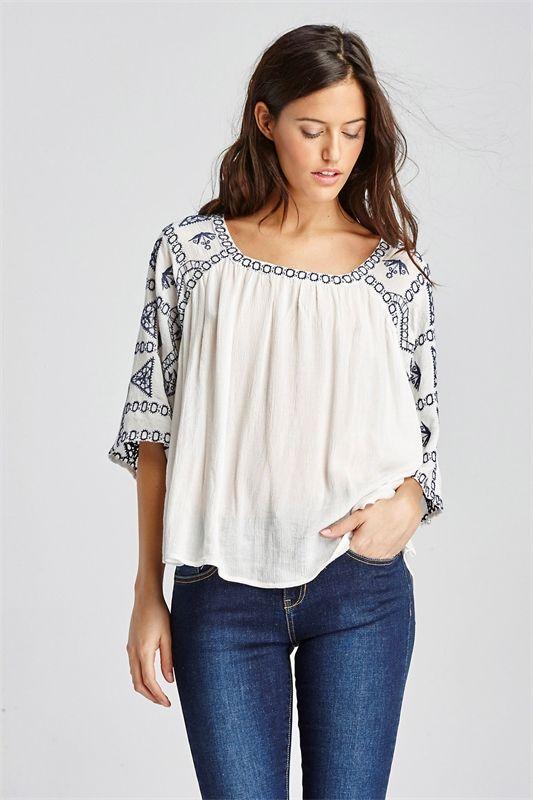 85de0d7e5ad Camisa ancha bordada - Referencia 181720 | Moda y Accesorios ...