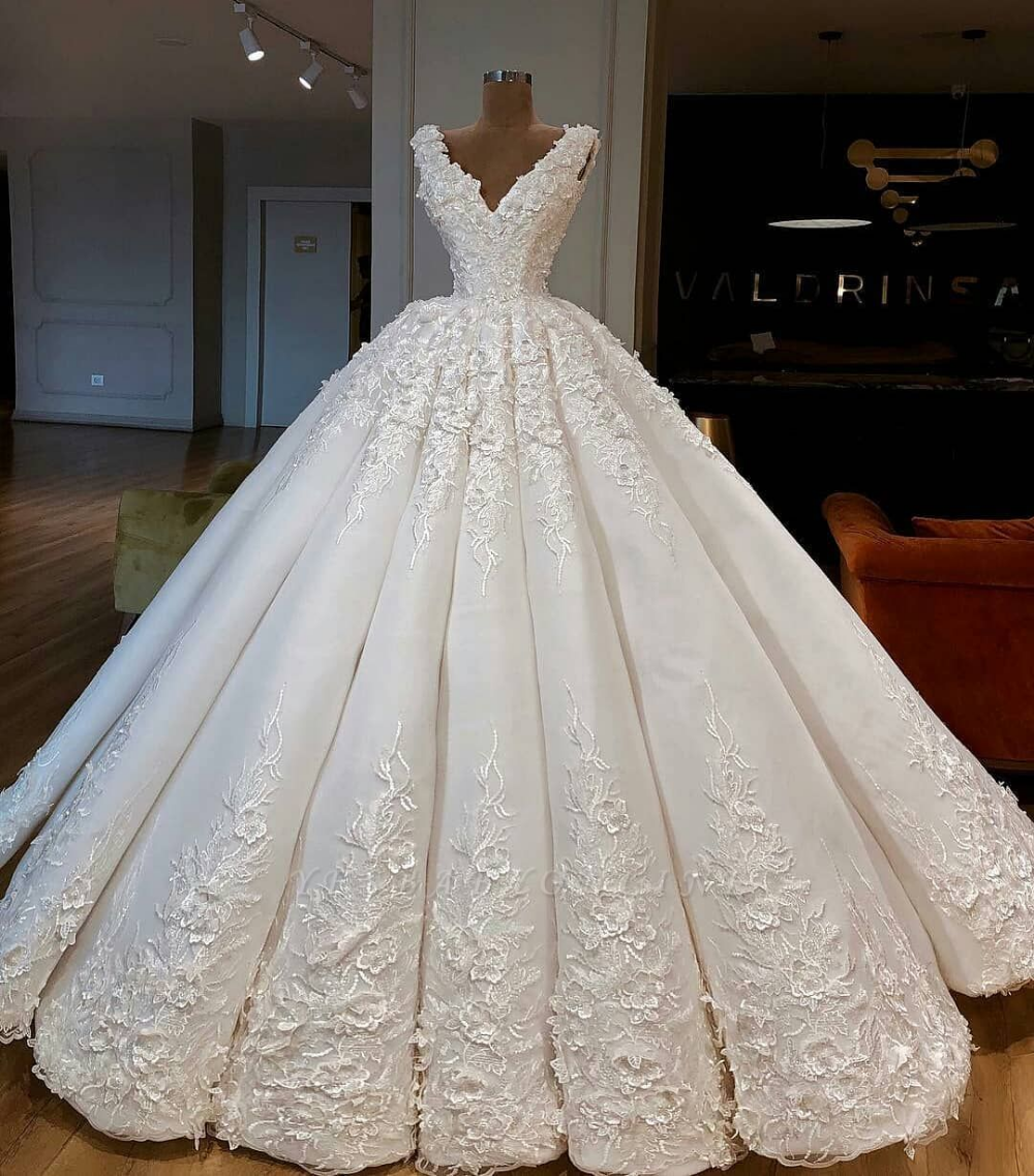 Charming Lace Appliques Ball Gown Wedding Dresses Gorgeous V Neck Sleeveless Bridal Gowns Ball Gowns Wedding Wedding Dresses Bridal Dresses