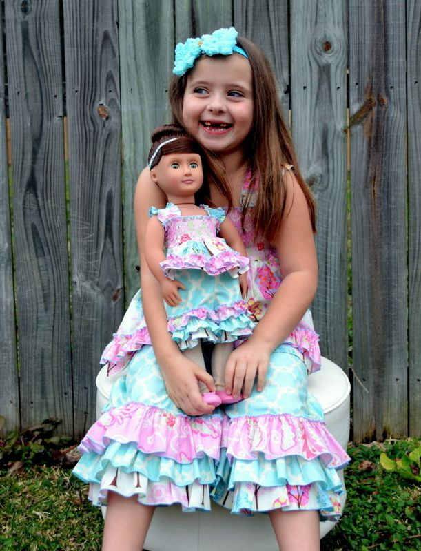 "Create Kids Couture now offers Lily's Lovely Apron Romper pdf sewing pattern in 15"" and 18"" doll sizes!! Great one piece for those active girls and their dolls."
