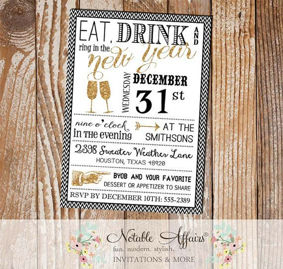 mini chevron eat drink and ring in the new year new years eve 2015 party invitation black white gold glitter