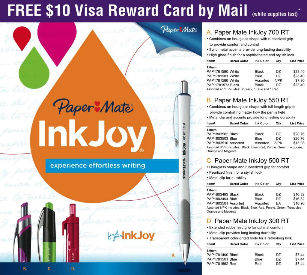 Paper Mate Rebate: FREE $10 Visa Reward Card | officezilla.com