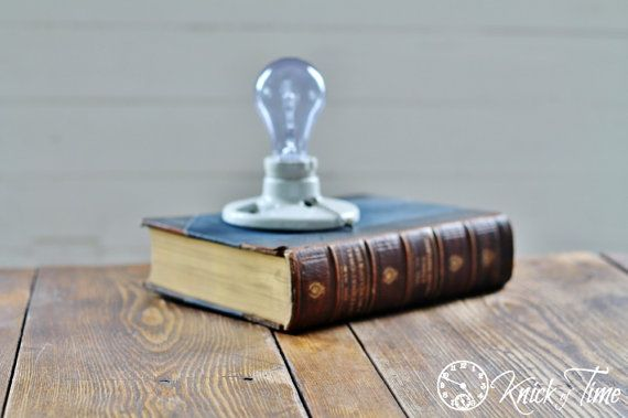 Antique Book Lamp Light Industrial Upcycled Lamp available from KnickofTime