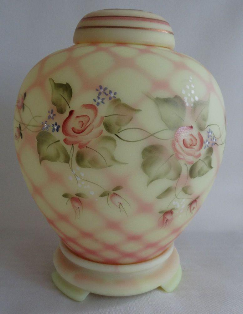 Fenton Burmese Diamond Optic Ginger Jar Signed by George Fenton