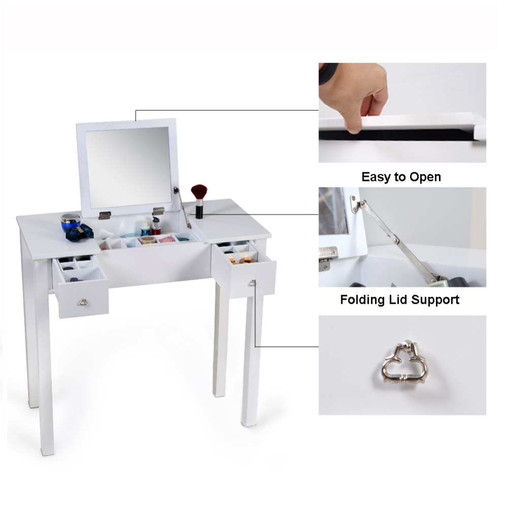 Organizedlife White Vanity Table Jewelry Storage Makeup Desk With Dressing Mirror And Drawer Walmart Com White Vanity Table White Vanity Dressing Mirror