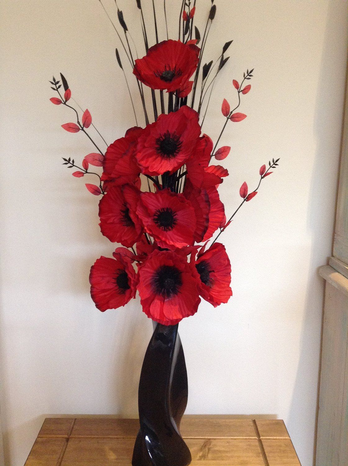 Beautiful red artificial poppies flower arrangement with vase beautiful red artificial poppies flower arrangement with vase the artificial flowers company mightylinksfo