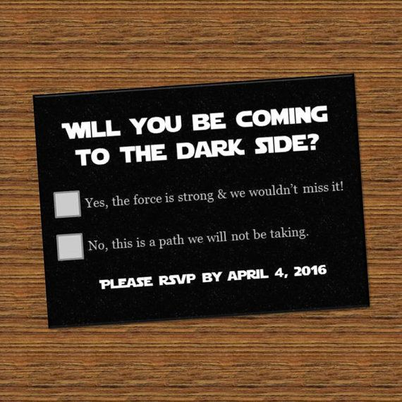 Star Wars Inspired wedding RSVP Directions Cards invite printed