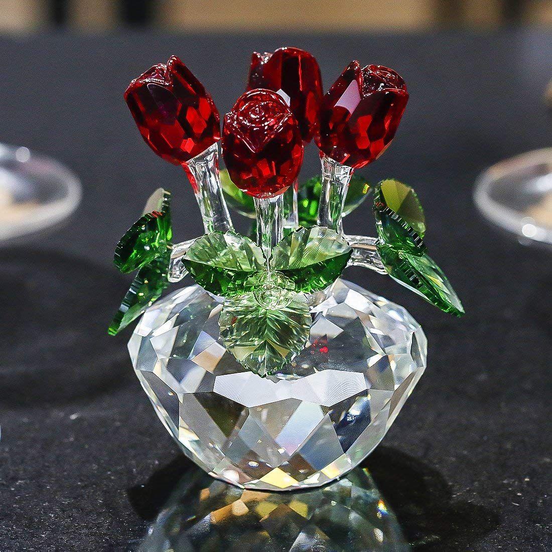 H D Spring Bouquet Crystal Glass Flowers Red Rose Figurine Ornament Gift Boxed Amazon Co Uk Kitchen H Bouquet De Roses Cadeau Pour Petit Ami Rose Eternelle