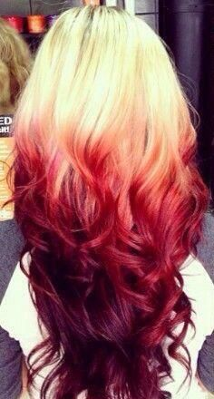 Blonde Hair With Red Velvet Tips Red Ombre Hair Hair Color Red Ombre Hair