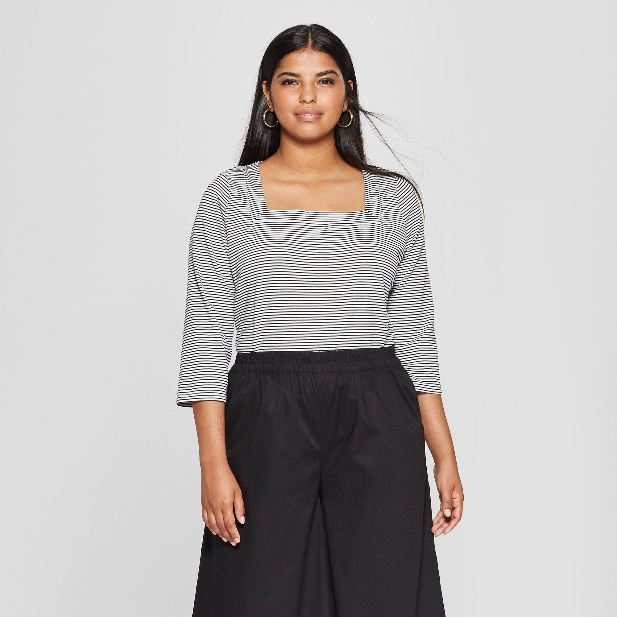 f2dabefe80cae1 Women's Plus Size Striped Long Sleeve Square Neck Top - Who What Wear  Black/White 3X, Black/White Stripe