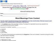 Word Meanings from Context Worksheet | Context Clues | Pinterest ...