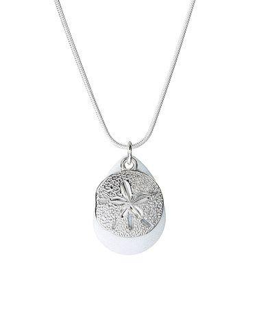 b84cb7771 Loving this White Sparkle & Silvertone Sand Dollar Teardrop Pendant Necklace  on #zulily! #zulilyfinds