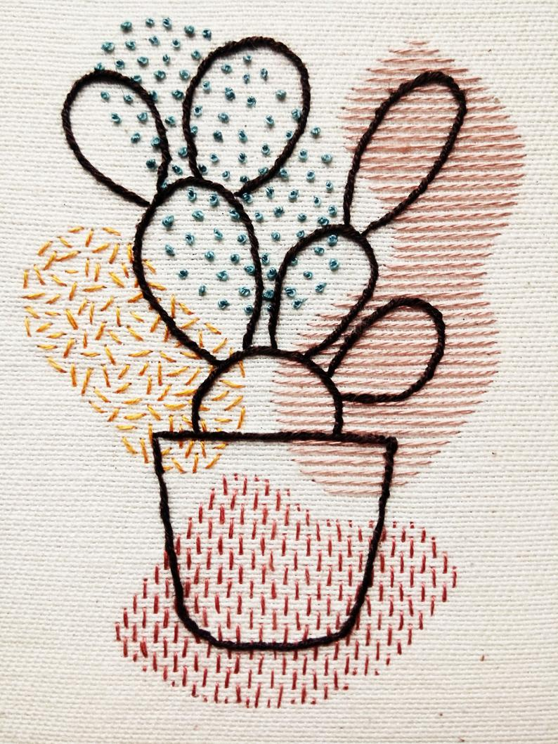 Prickly Pear Cactus Organic Shapes Embroidery Hoop Art (fr) Suspension de mur Wall Art – France Décoration de la maison (fr) Cactus – embroidery