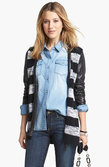 Trouvé Faux Leather Detail Stripe Cardigan available at #Nordstrom