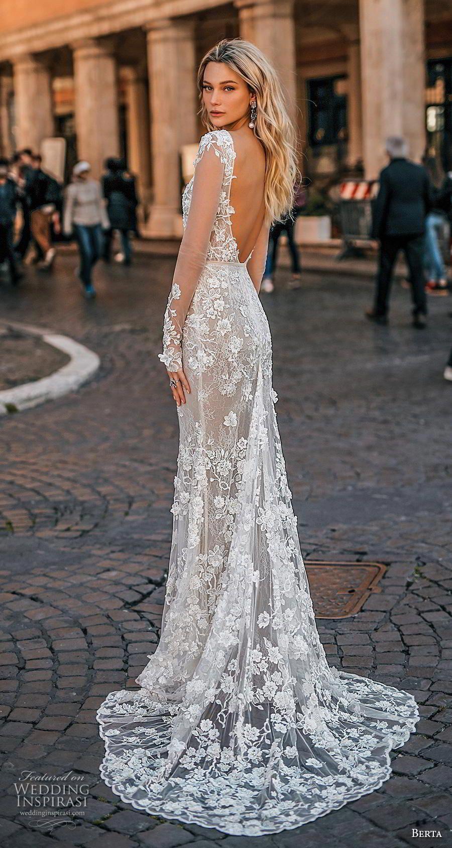 Berta 2020 Privee Bridal Long Sleeves Deep V Neck Full Embellishment Elegant F Long Sleeve Bridal Gown Wedding Dress Sleeves Long Sleeve Wedding Dress Backless [ 1688 x 900 Pixel ]