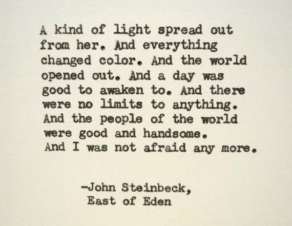 John Steinbeck Quotes Fascinating JOHN STEINBECK East Of Eden Quote Made On Typewriter Just To Quote