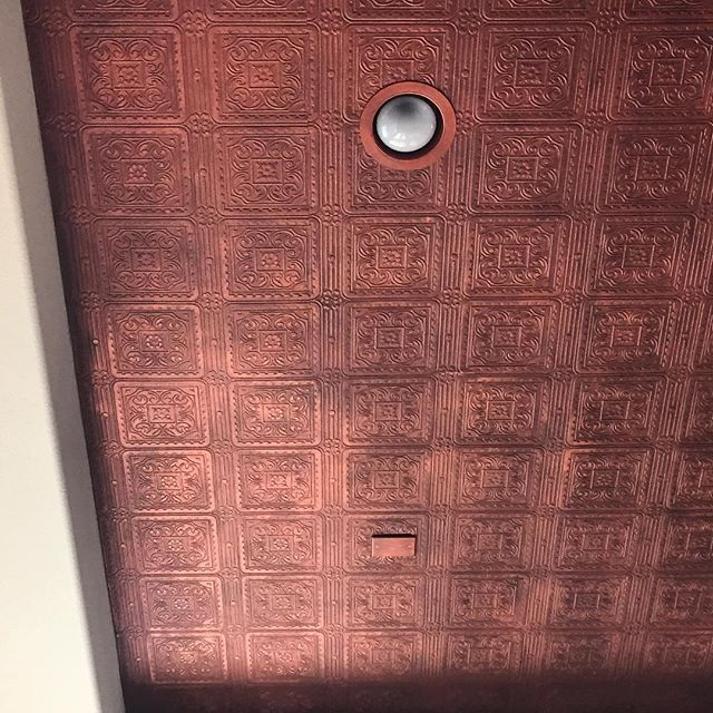 Copper metallic paint over embossed ceiling pattern by creative finishes by vega modern - American tin tiles wallpaper ...
