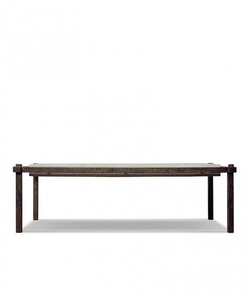 SUSPENDED IRON COFFEE TABLE WITH TRAVERTINE TOP   Formations