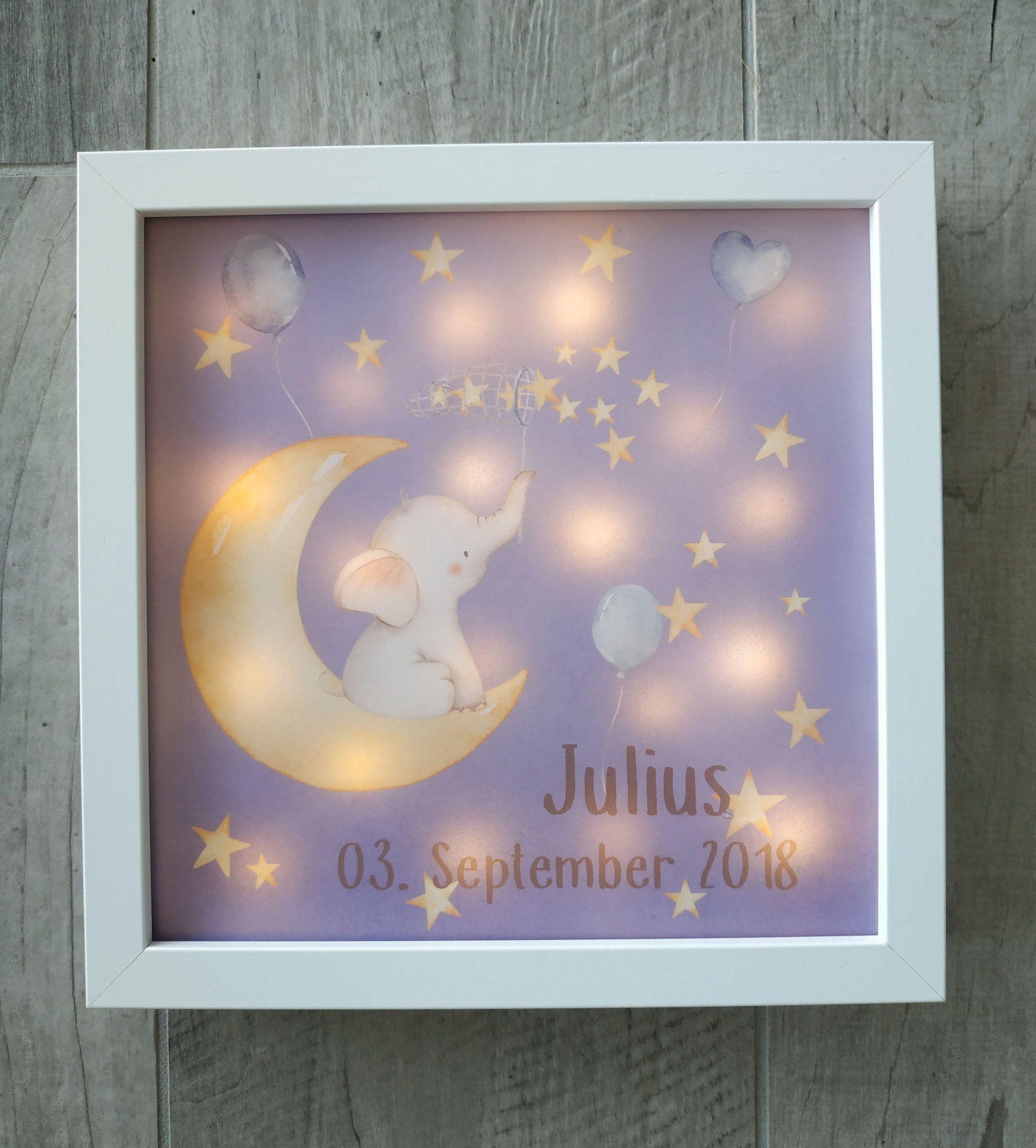 Beleuchteter Bilderrahmen Mit Elefant Namen Und Geburstdatum Nachtlicht Geschenk Geburt Taufe Leuchtrahmen Crafts Deco Baby