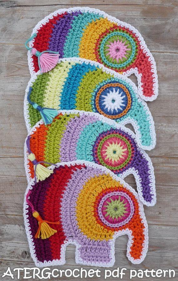 Crochet pdf pattern elephant by ATERGcrochet | Elefantes, Ganchillo ...