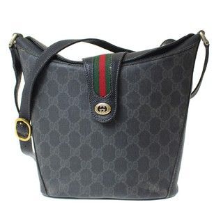 Gucci Equestrian Accents Bucket Rare And Unique High-end Bohemian Excellent  Vintage Satchel in black leather   grey black large G print coated canvas b06771f1c8bc9