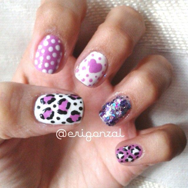 #Erigonzal #Nails #FashionNails #FashionManicure #AnimalPrint #Shine #Dots #Hearts #White #Purple #Pastel