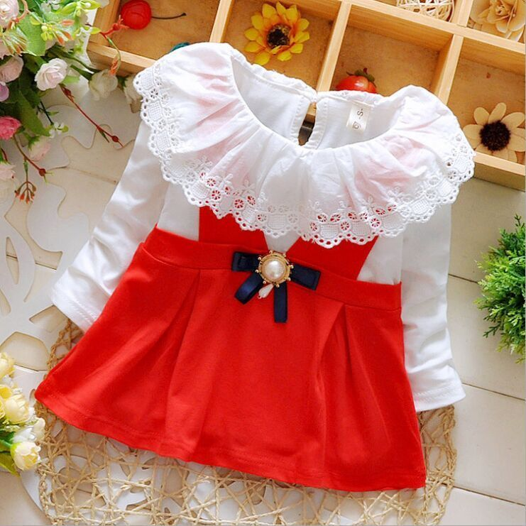 New Style Fashion Baby Kids Girls  Cotton Bow Lace Mini Dress Romper Long Sleeve