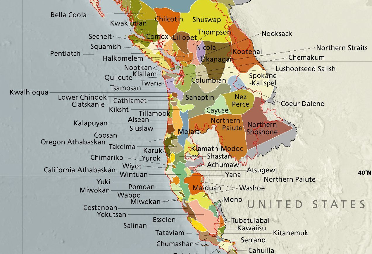 Indigenous Peoples Of The North Pacific C  Illustrations - Map of pacific northwest usa