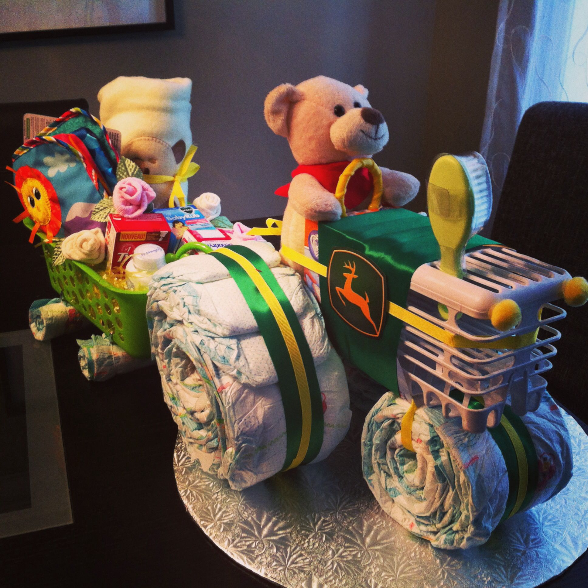 John Deere tractor diaper cake with attached wagon of goo s