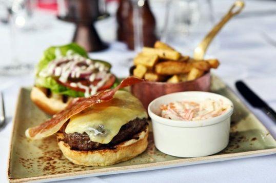 American BBQ burger, Monterey Jack cheese, crispy smoked bacon, hickory sauce