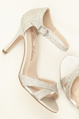 afac094f12b9 Gold glitter encrusted open toe sandals with ankle strap    Gold party shoes     Gold wedding shoes