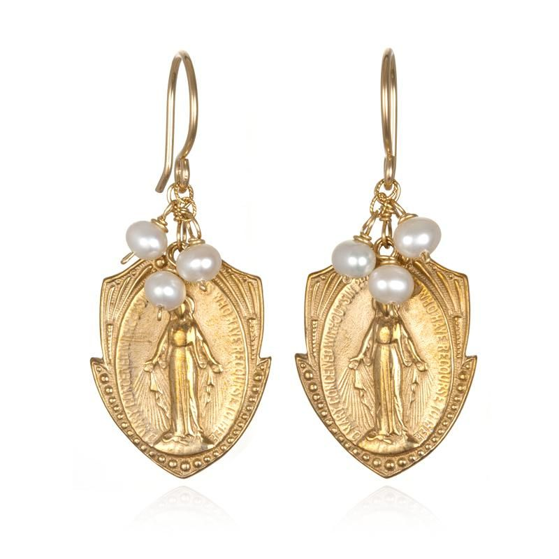 Miraculous Medal Earring With White Pearl Accents Design Gallery
