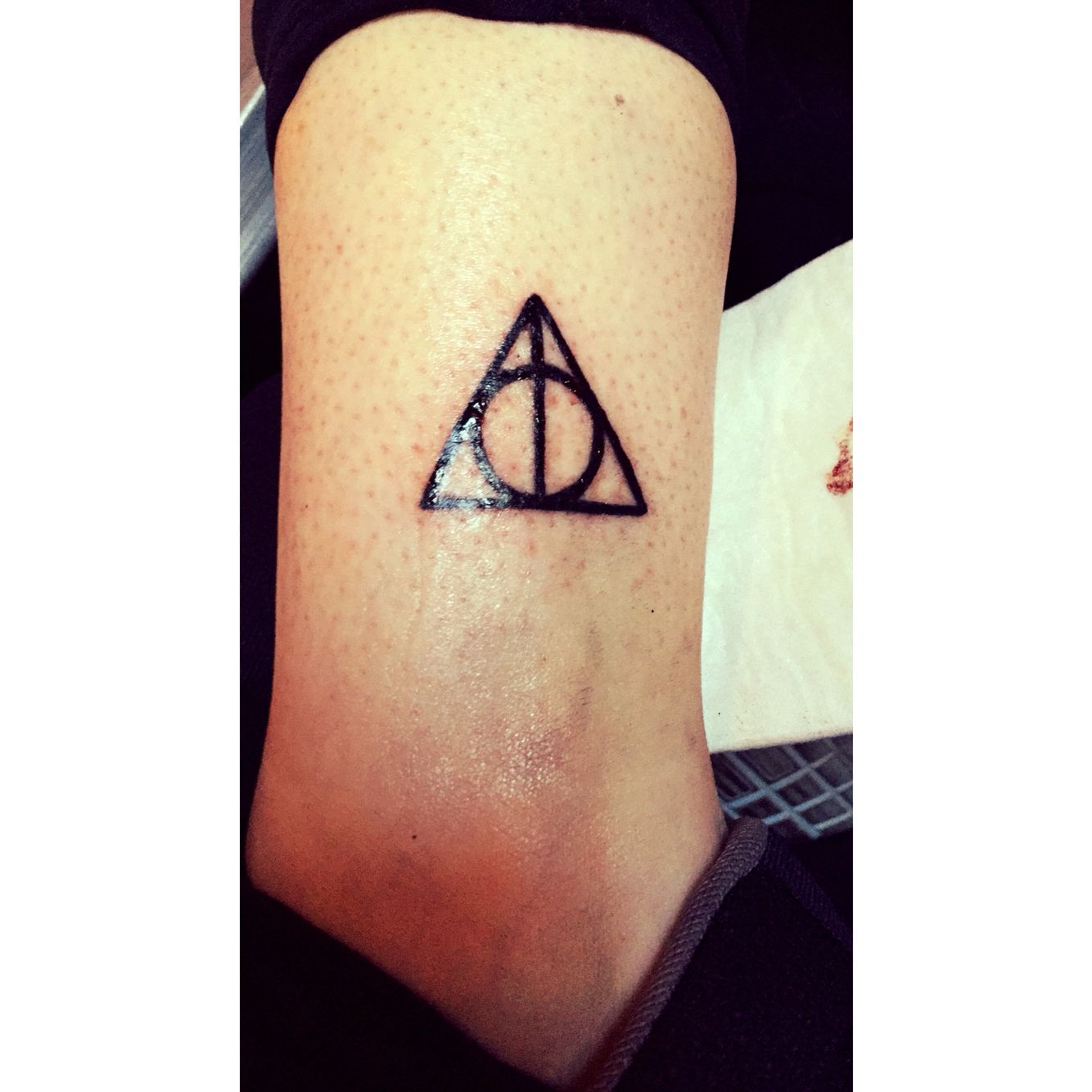 New tattoo #tattoo #harrypotter #dealthyhallows #ankle #hp