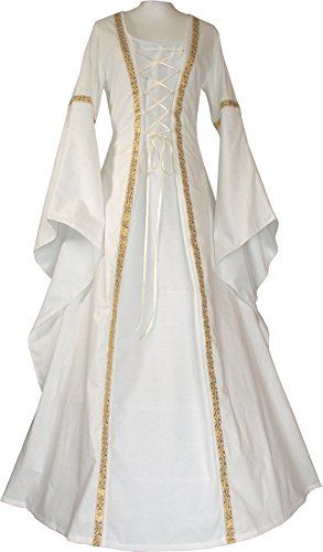 Dornbluth Damen Mittelalter Kleid Anna hell (32/34, Ecru-... https ...