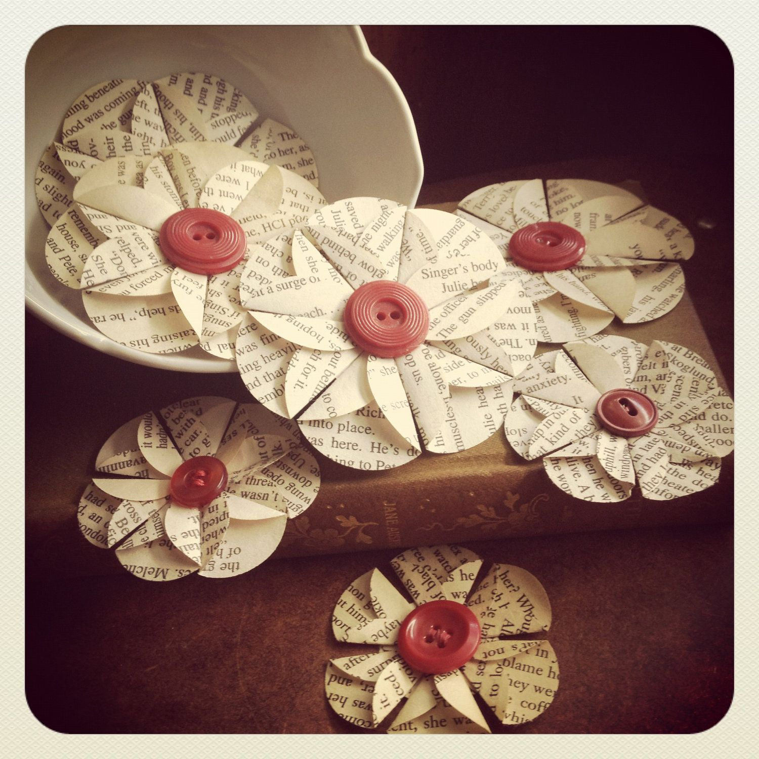 Vintage paper folded flowers with vintage red buttons set of 7 vintage paper folded flowers with vintage red buttons set of 7 mightylinksfo