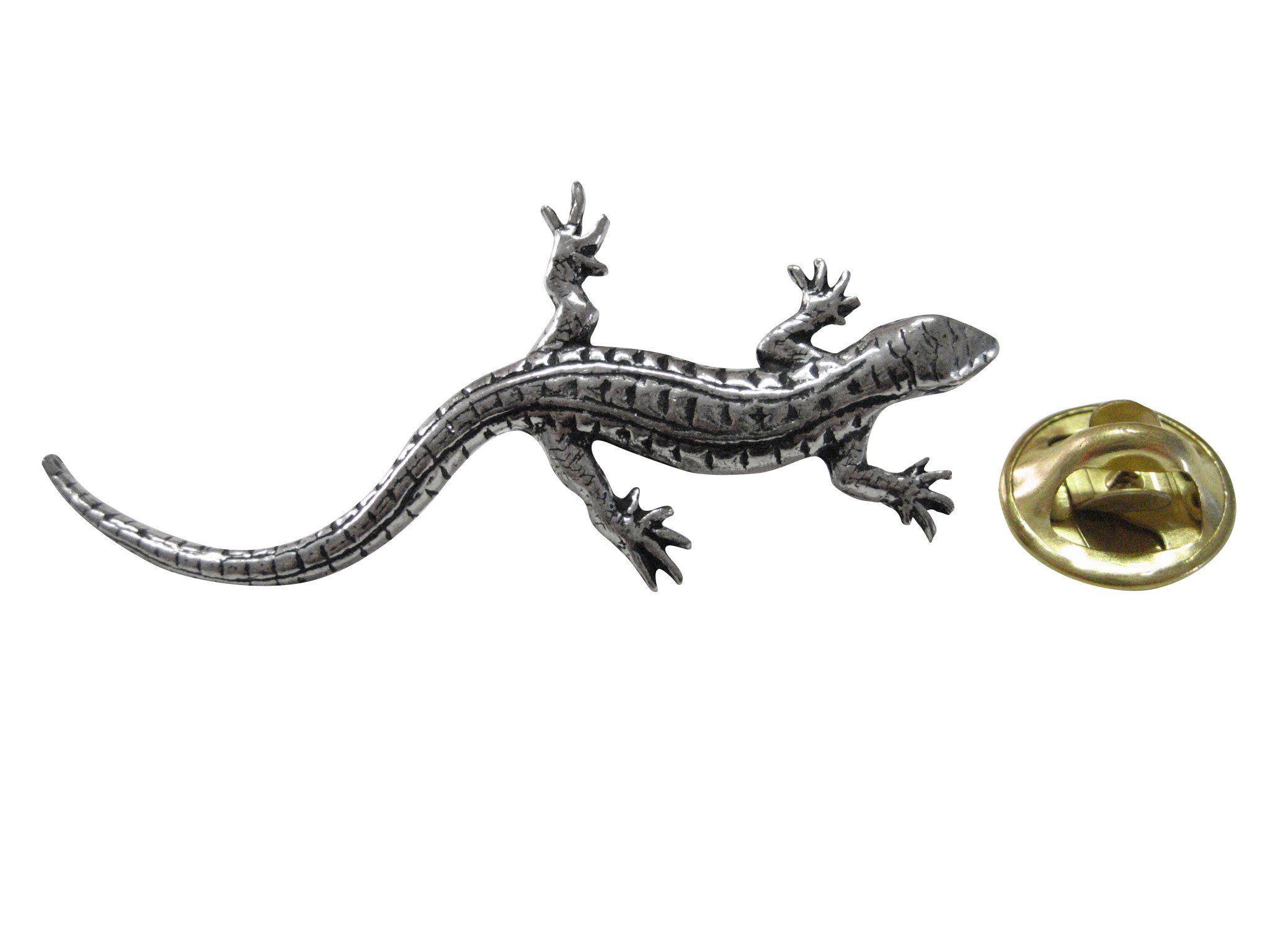 Silver Gecko Lapel Pin