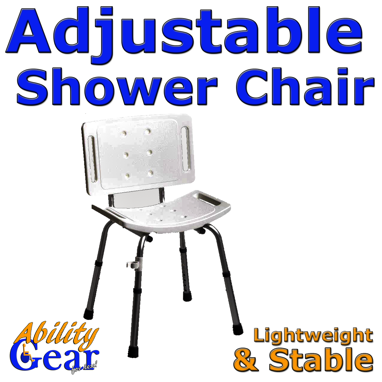 Ability Gear For Less - Shower Chair, Adjustable with Backrest, $64.88 (http://www.abilitygearforless.com/shower-chair-adjustable-with-backrest/)