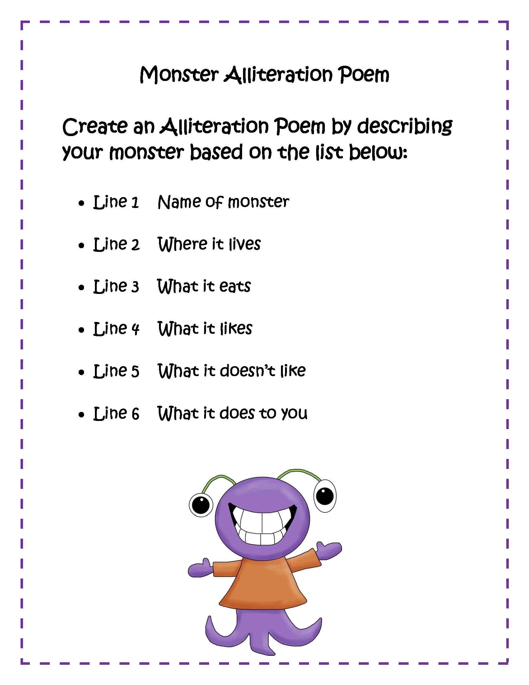 medium resolution of Monster Poem   Alliteration