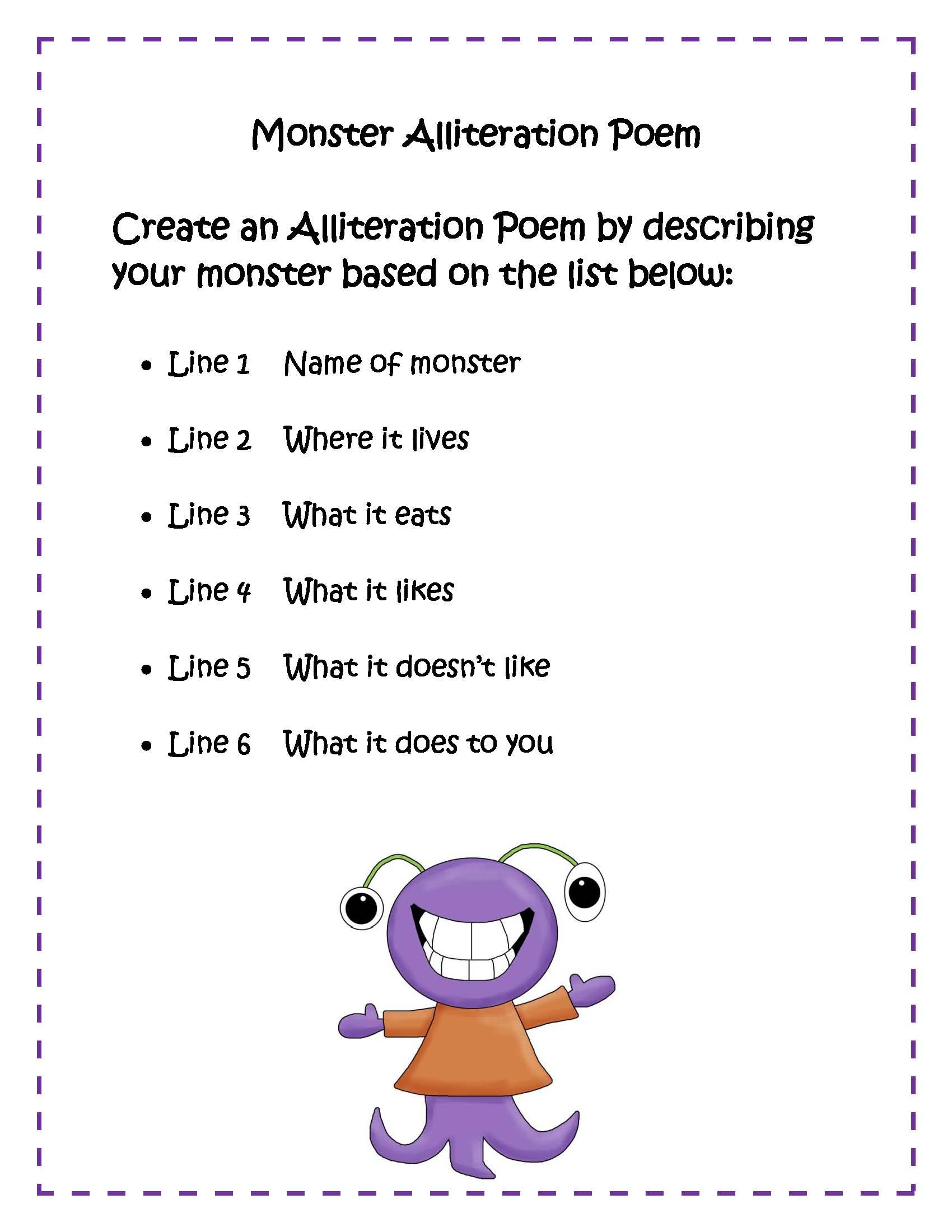 small resolution of Monster Poem   Alliteration