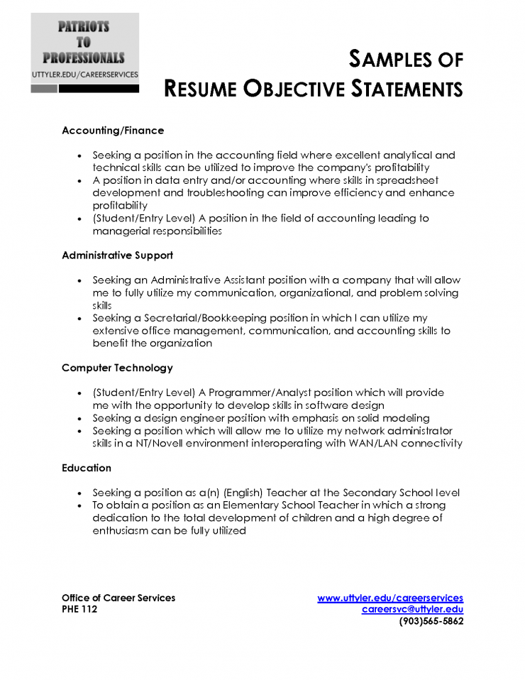 cover letter resume objective statement example for any