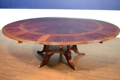 American Hand Crafted Large Round Dining Table Perimeter Leaf