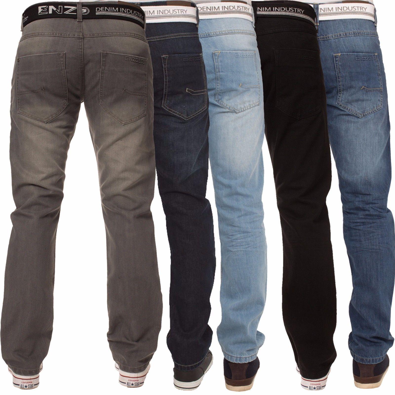 Mens Boy Jeans Straight Leg Denim Pants Skinny Stretch Fit Ripped All Waist Legs