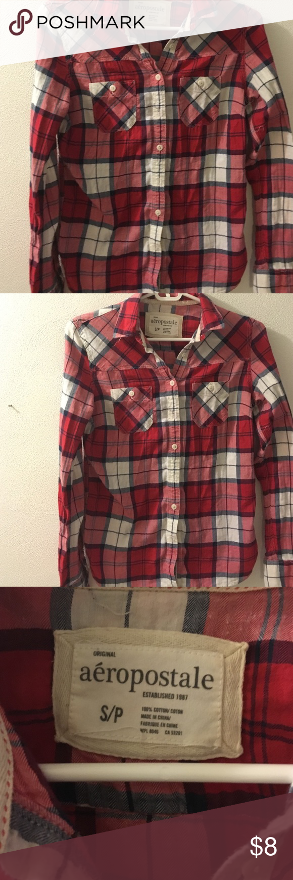 Multi color flannel shirt Longsleeve flannel shirt Aeropostale Tops Button Down Shirts