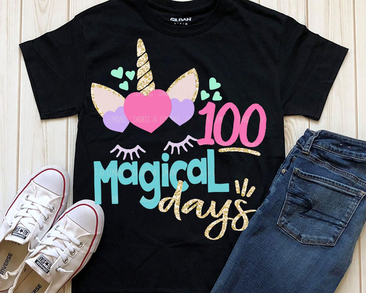 Unicorn Svg 100 Magical Days Svg School 100 Days Svg Dxf Eps
