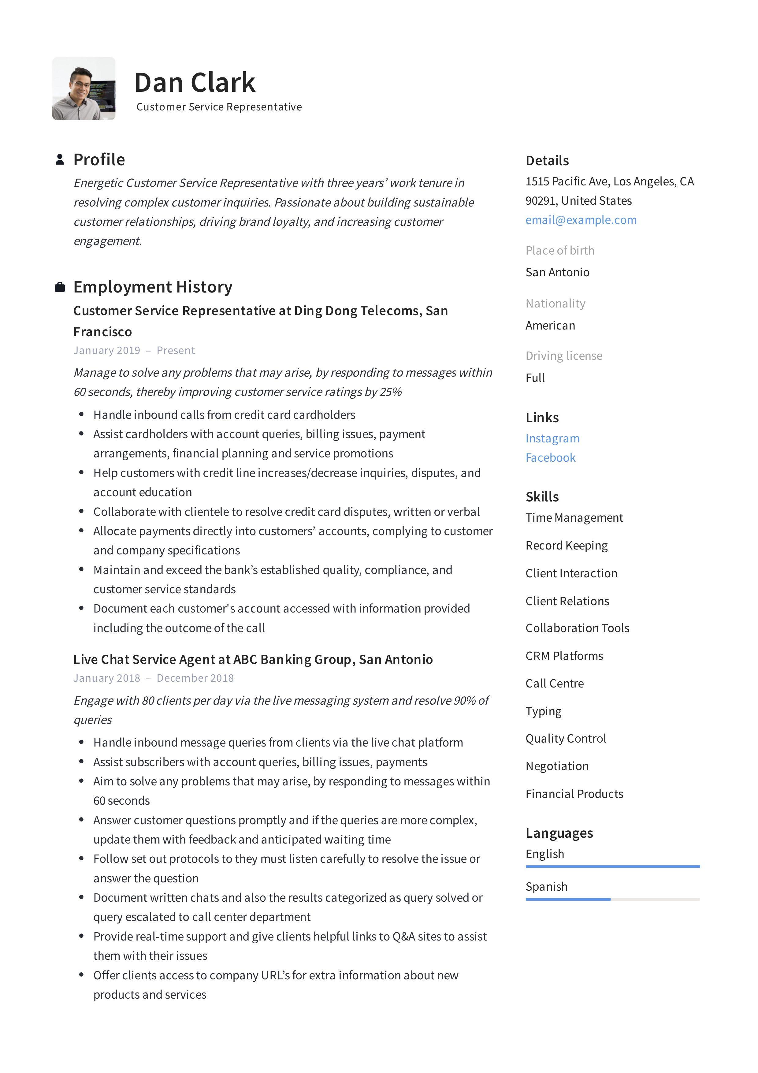 Customer Service Representative Resume Template Customer Service Resume Customer Service Resume Examples Customer Service Cover Letter