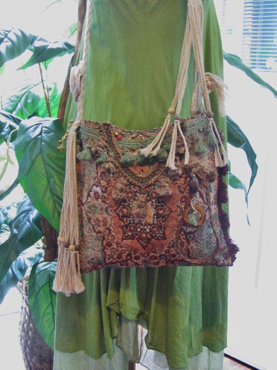 Bohemian Gypsy Carpet Bag Unique Earth Tones by NanasSunshine