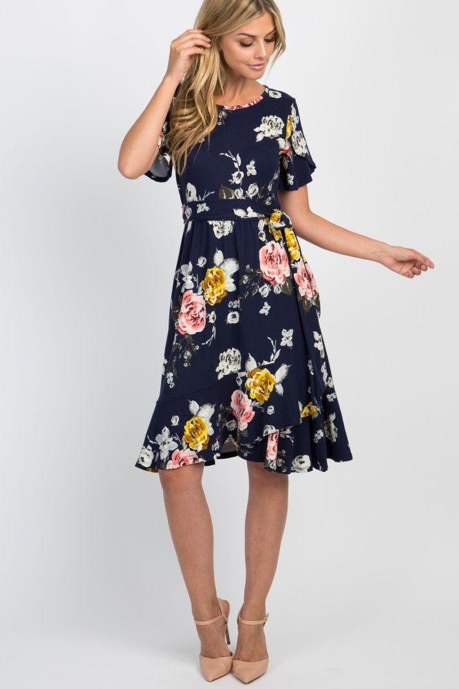 7ce1f48fd538 Navy Floral Sash Tie Flounce Trim Dress in 2019 | Spring Fashion ...