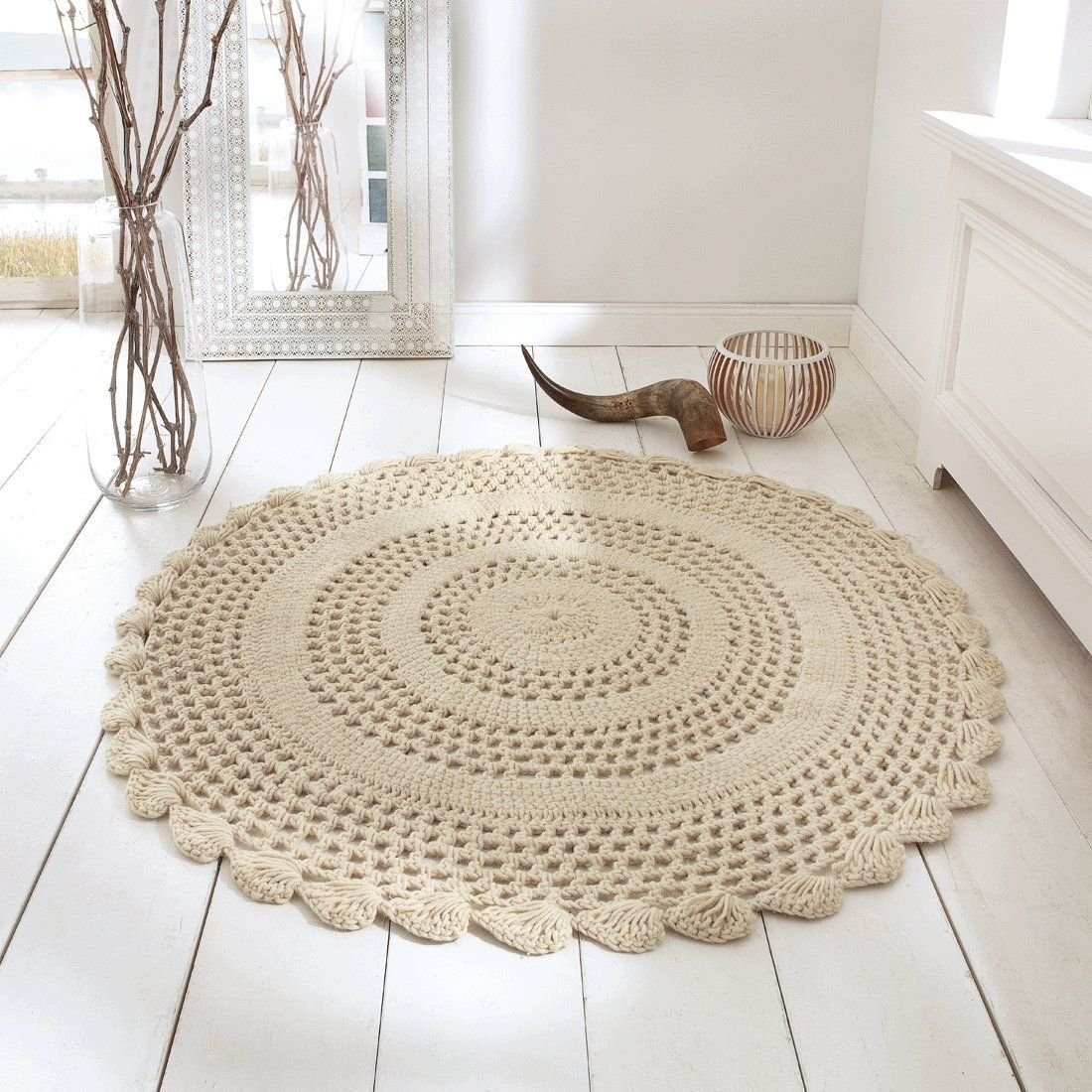 Teppich liesel aus wolle 120 cm k che haushalt gestrickt und geh kelt - Teppich landhaus ...