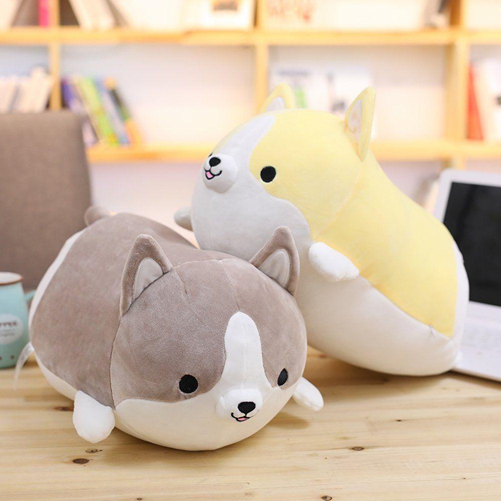 Levenkeness Corgi Dog Plush Pillow Soft Cute Shiba Inu Akita Stuffed Animals Toy Gifts Yellow 11 8 In Click Photo Puppy Pillows Animal Pillows Corgi Plush